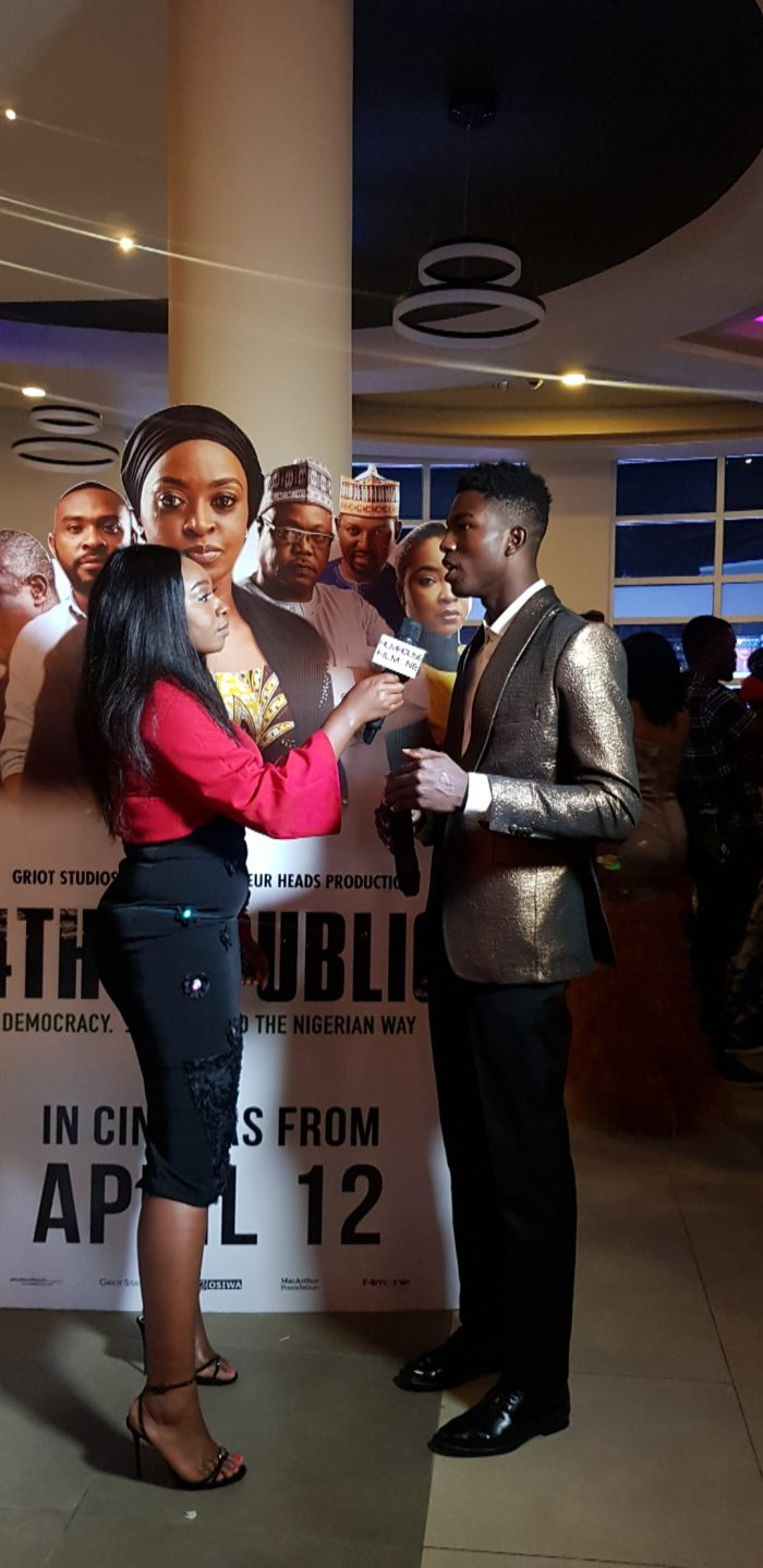 daniel ajayi of led model management at the 4th republic movie premiere